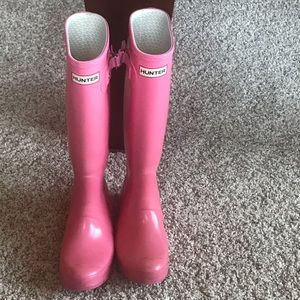 Pink Authentic Hunter Tall Rain Boots, Size 5M